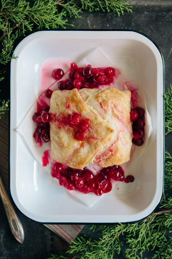 Puff Pastry Wrapped Brie with Cranberries